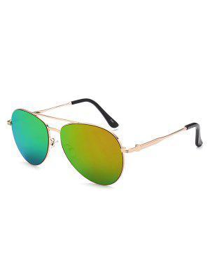 Metal Crossbar Pilot Mirrored Sunglasses - Golden