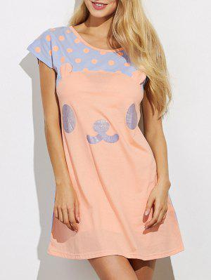 Cartoon Pattern Lounge Tee Dress - Orange 2xl
