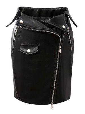 PU Leather Zippered Bodycon Skirt - Black S