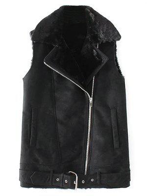 Zipped Faux Shearling Waistcoat - Black S