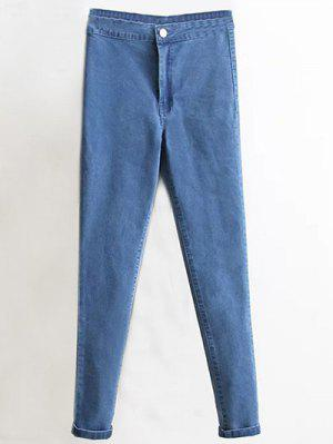 High Waist Skinny Tapered Jeans - Denim Blue S