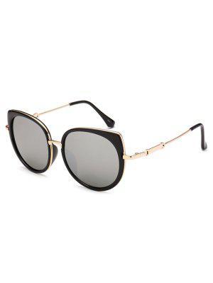 Gafas De Sol Marco Metálico Diseño Ojo De Gato Reflejantes - Plata