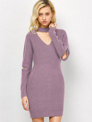Choker Neck Mini Fitted Sweater Dress - Pink M