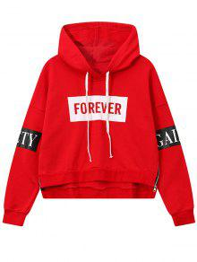 Side Zipper Graphic Patched Hoodie - Red