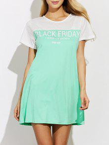 Vestido Tipo Camiseta Suelta Bicolor Manga Corta - Verde S