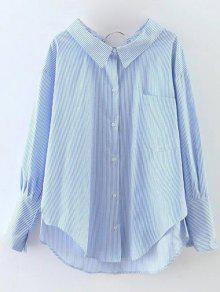 Rayas De Gran Tamaño Camisa De Mayor A Menor - Azul M
