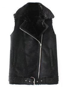 Zipped Faux Shearling Waistcoat - Black L