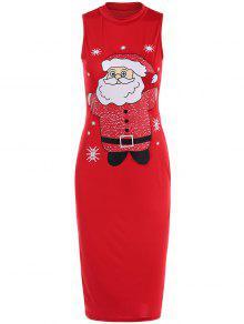 Christmas Santa Clause Midi Bodycon Dress - Red M