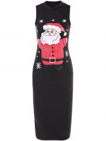 Christmas Santa Clause Midi Bodycon Dress - Black S