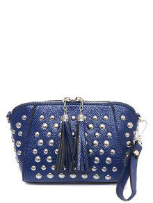 PU Leather Tassel Studded Clutch Bag - Blue