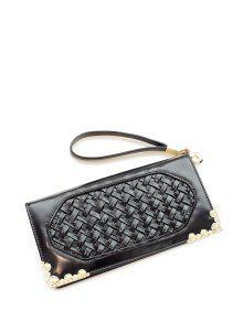 Buy Woven PU Leather Clutch Wallet - BLACK