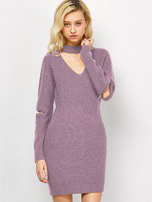 Vestido Altura Media Tipo Suéter Gargantilla  - Rosa M