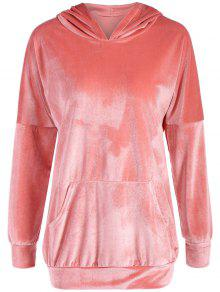 Hooded Long Sleeve Velvet Casual Dress - Pink S