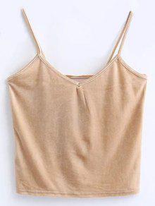 Velvet Cropped Cami Top - Khaki