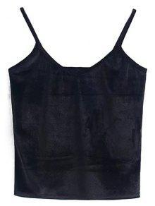 Velvet Cropped Cami Top - Black