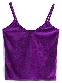 Velvet Cropped Cami Top - Purple