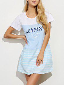 Vestido Tipo Camiseta Holgado Línea Vertical Manga Corta - Azul Claro Xl