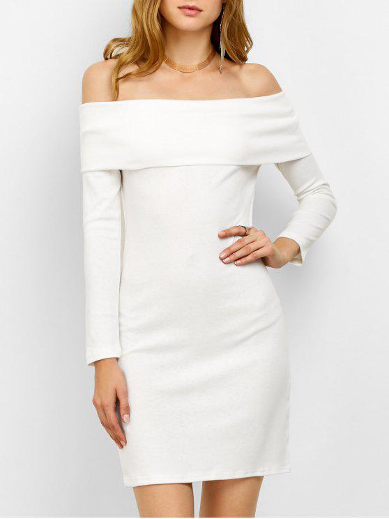 Vestido Mini Ajustado Hombro Descubierto Manga Larga - Blanco L