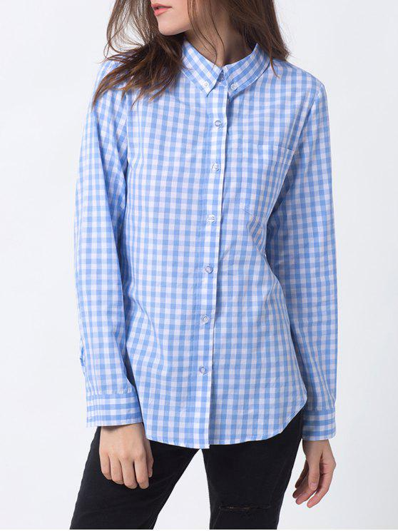 ladies Checked Pocket Shirt - BLUE AND WHITE XS