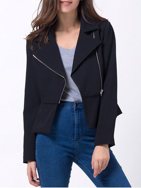 trendy Zip Up Asymmetric Peplum Blazer - BLACK S