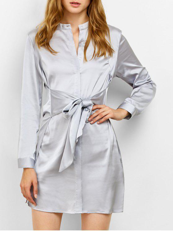 women Tied Stand Neck Satin Shirt Dress - GRAY S