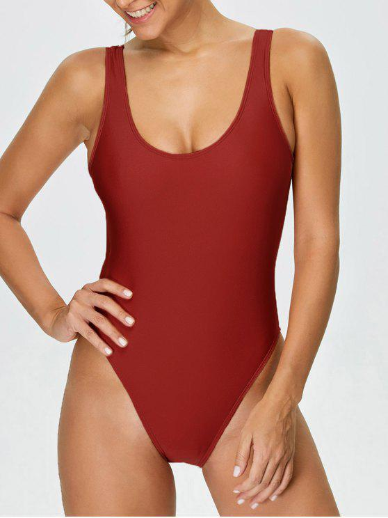 hot High Cut Backless Swimsuit - RED XS