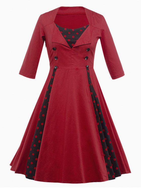 Vestido Paneles Diseño Vintage Puntos - Rojo oscuro 2XL