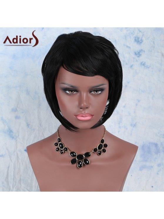 أسود الجانب بانغ قصيرة منفوش فاديش المرأة شعر مستعار الاصطناعية الباروكة - أسود