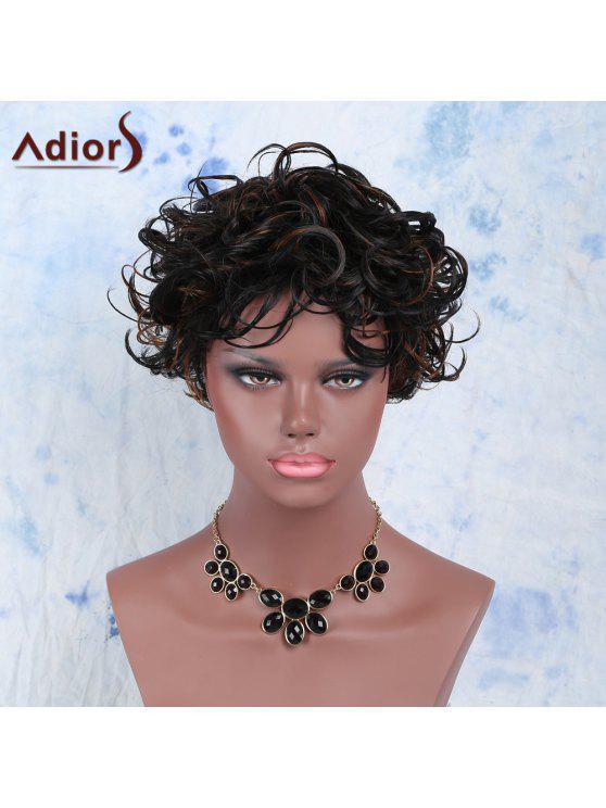 الجانب المتميز بانغ مختلط لون قصيرة رقيق مجعد المرأة الباروكة الاصطناعية - Colormix