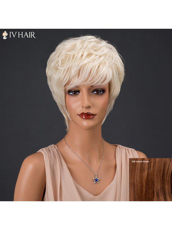 سيف الشعر القصير منفوش كامل بانغ مجعد قليلا شعر مستعار الشعر الطبيعي الحقيقي - أوبورن براون # 30