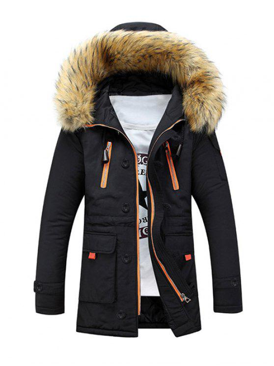 Faux Fur Hooded Zip Up Multi-Pocket Padded Coat BLACK: Jackets ...