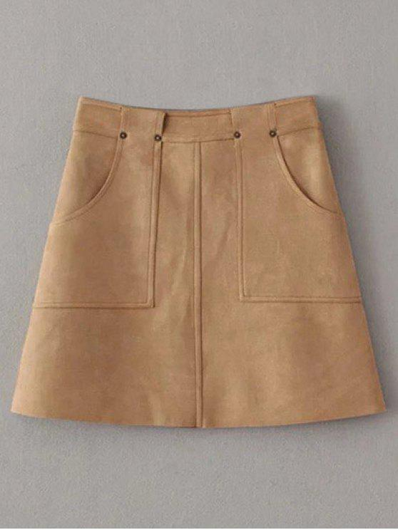 shops A Line Front Pockets Suede Skirt - LIGHT COFFEE L