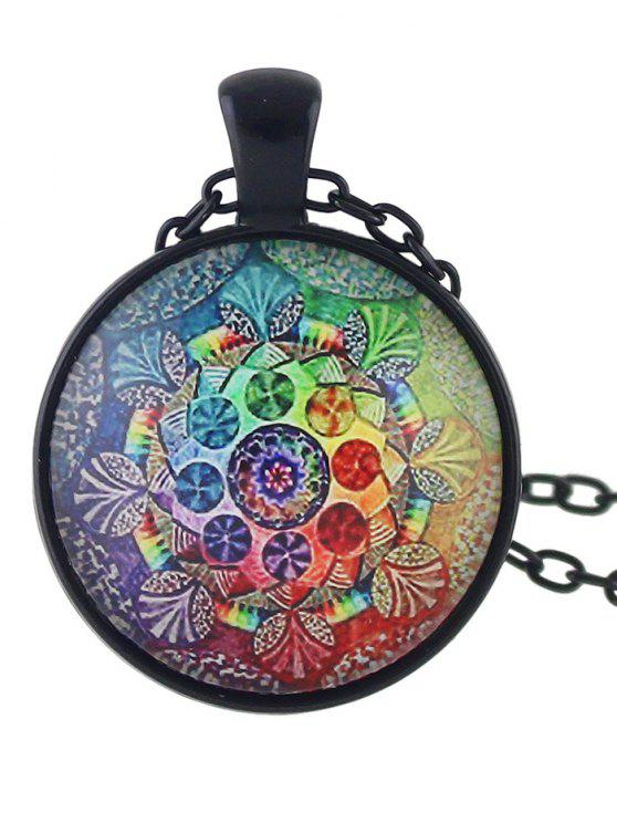 womens Mandala Round Necklace - COLORMIX