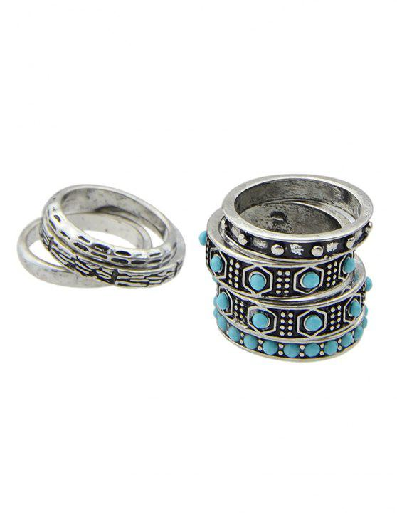 chic Faux Turquoise Rings Set - SILVER