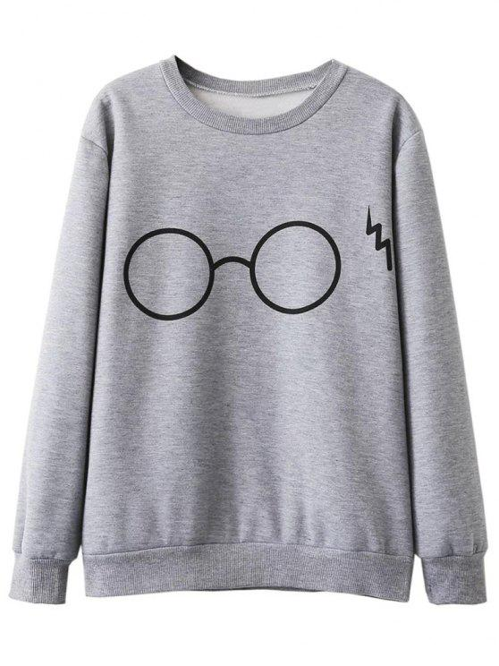 outfits Fleece Lined Glasses Graphic Sweatshirt - GRAY S