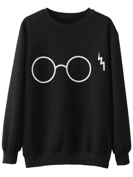 shop Fleece Lined Glasses Graphic Sweatshirt - BLACK L