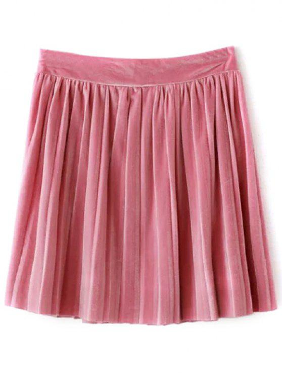 sale Pleated Velvet Mini Skirt - PINK L