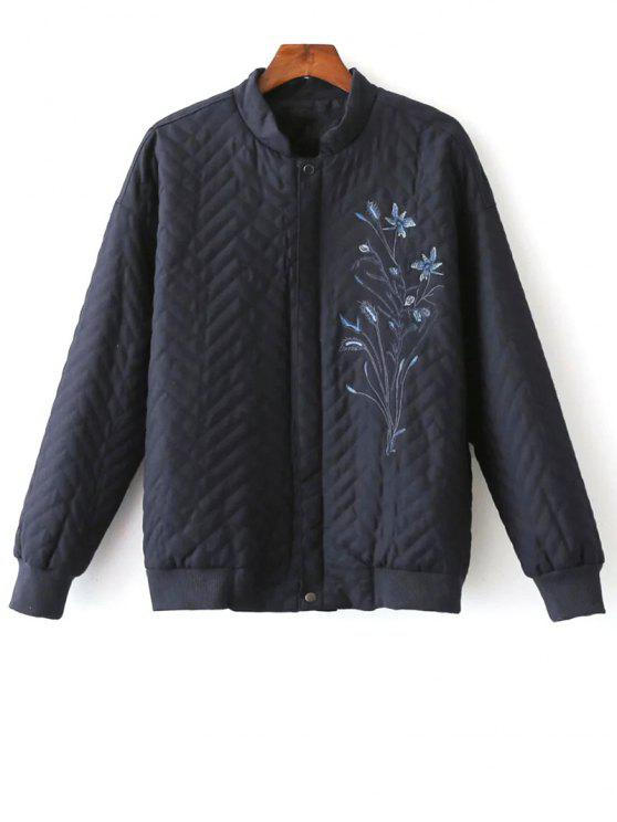 fancy Herringbone Quilted Embroidered Jacket - PURPLISH BLUE L