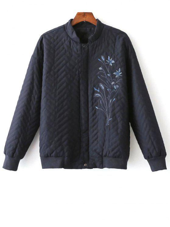 sale Herringbone Quilted Embroidered Jacket - PURPLISH BLUE S