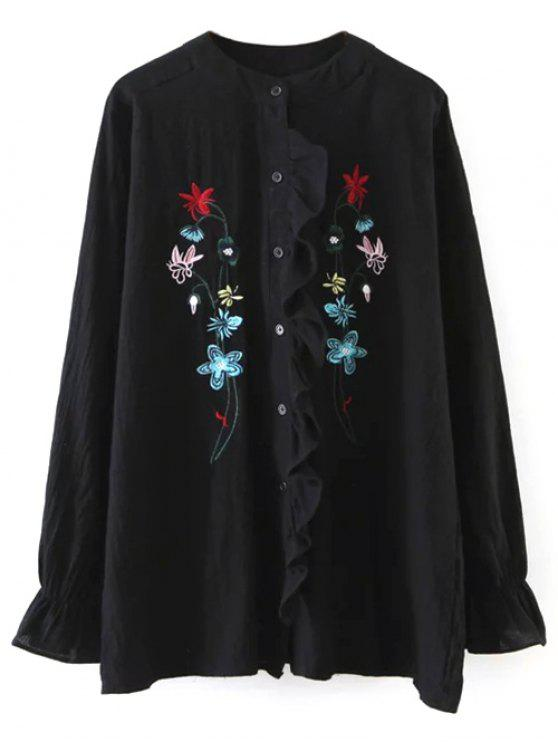 sale Embroidered Ruffled Shirt - BLACK ONE SIZE