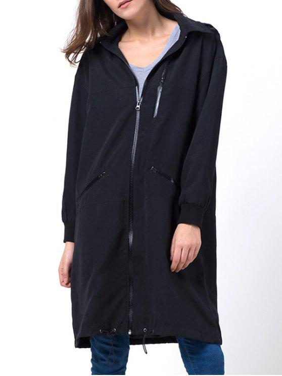 outfits Full Zip Trench Coat With Pockets - BLACK 2XL