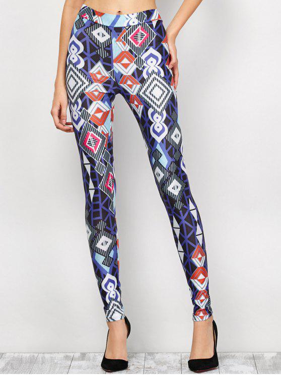 latest High Waist Geometric Print Leggings - BLUE M