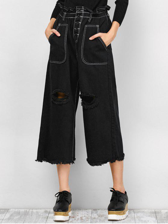 Pantalons capri déchirés à bords larges - Noir S