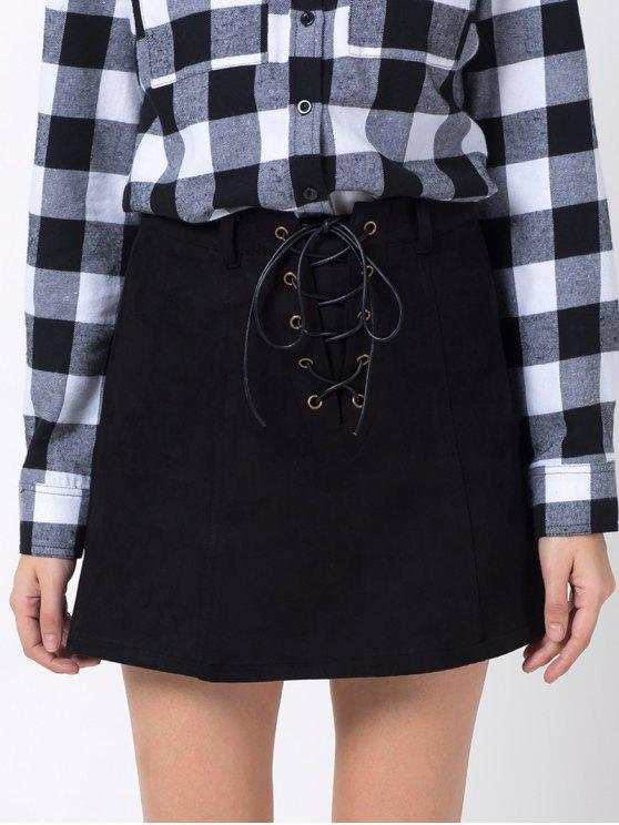 affordable A Line Faux Suede Mini Skirt - BLACK S