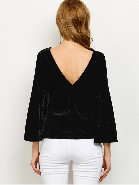 Camiseta mangas soltas com decote nas costas em V tecido de veludo - Preto L