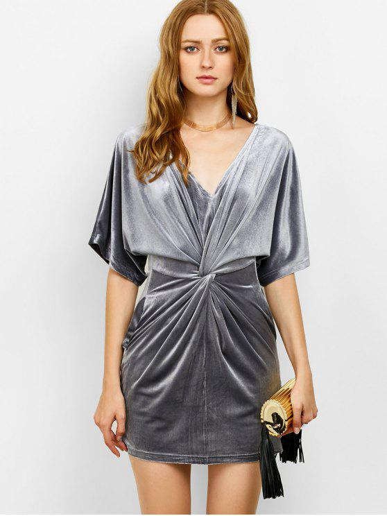 outfit V Neck Twist Front Bodycon Dress - GRAY S