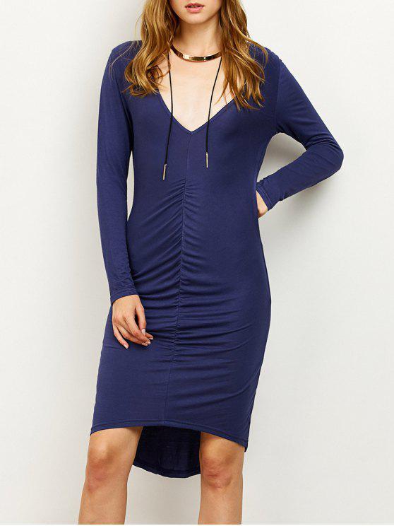 Ruched alta-Low Vestido justo - Azul Arroxeado S