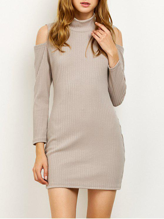 fancy Cold Shoulder High Neck Ribbed Sweater Dress - GRAY M