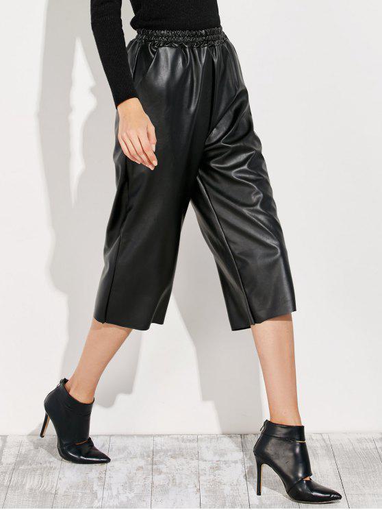 Pantalones Capri Cuero PU - Negro Única Talla