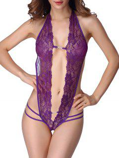 Halter-Ausschnitte Lace Teddy - Lila S